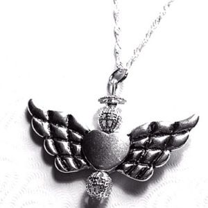 Beaded Silver Angel pendant necklace Hand crafted